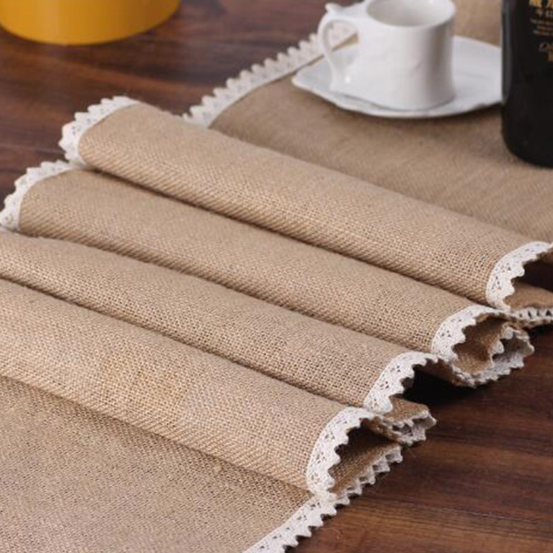 BALLE Burlap Lace Table Runner Wholesale Rustic Jute Shabby Hessian Table Runner Wedding Festival Party Event Decoration