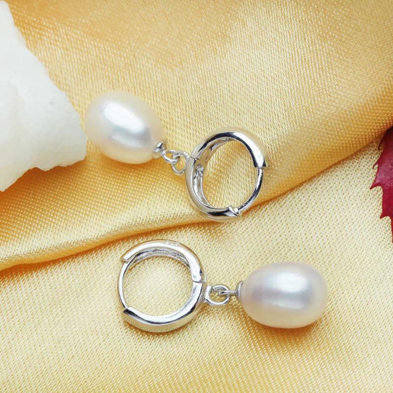 פרל תכשיטים, פרל תליון שרשרת מים מתוקים עגילי 925 סטרלינג כסף קלאסי תכשיטי סטי קסם רטרו עגילים לנשים