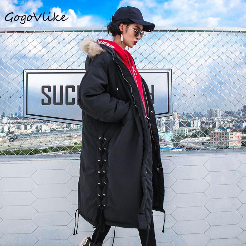 купить Long Black Lace Up Cotton Padding Coat for Winter Women Warm Loose Cargo Hooded Outwear Fur Hooded European Style LT005S15 недорого