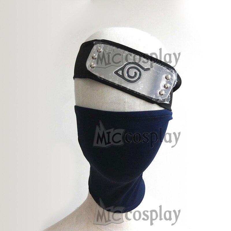 2pcs/set Hatake Kakashi Mask Headband Cosplay Elastic Face Mask with Zipper