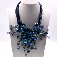 2018 Lady Women Big navy Blue Crystal flower choker necklace women Hot selling