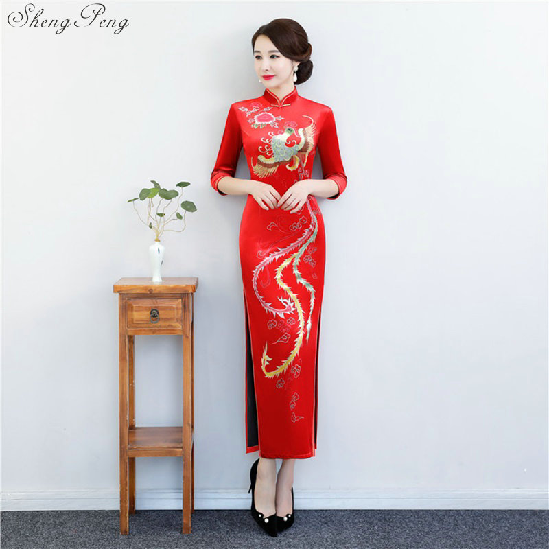 Red Chinese Traditional Dress Women's Silk Satin Cheongsam Vintage Qipao Summer Half Sleeve Long Dress Flower Plus Size V1428