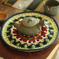 Trade Hand Crochet Doilies Pad Handmade Cup Mat Photo Props Placemat Decorative Mat