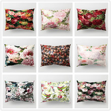 Floral Cushion Cover 30x50cm Retro Flower Countryside Style Polyester Pillowcase for Sofa Car Couch Decorative Covers Home Decor