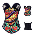 Cotton Gothic Printed Burlesque Overbust Corset & Bustier Steampunk Skull sexy lingerie Rhinestone waist trainer S-2XL