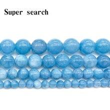 Бусины из натурального камня, Синий аквамарин, ангелит, круглые бисерные бусины 4, 6, 8, 10, 12 мм, подходят для самостоятельного изготовления ювелирных изделий, женских браслетов