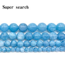 Natural Stone Beads Blue Aquamarin Angelite Round Beaded beads 4 6 8 10 12mm Fit DIY For Jewelry Making Bracelet Woman