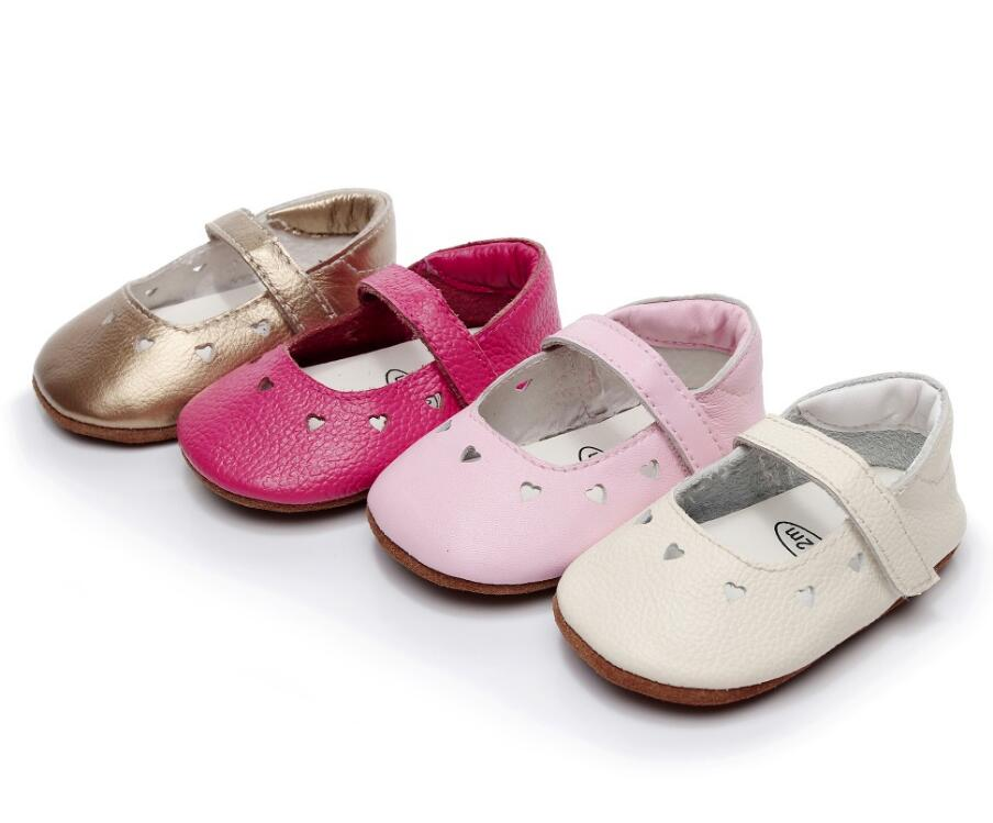 New fashion genuine leather infant baby moccasins soft rubber bottom newborn baby girls party mary jane shoes high quality