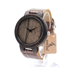 BOBO BIRD D23 Wood Wristwatch Fashion Antique Ebony Watch with Leather Band Casual Quartz Watch for Unisex in Paper Gift Box