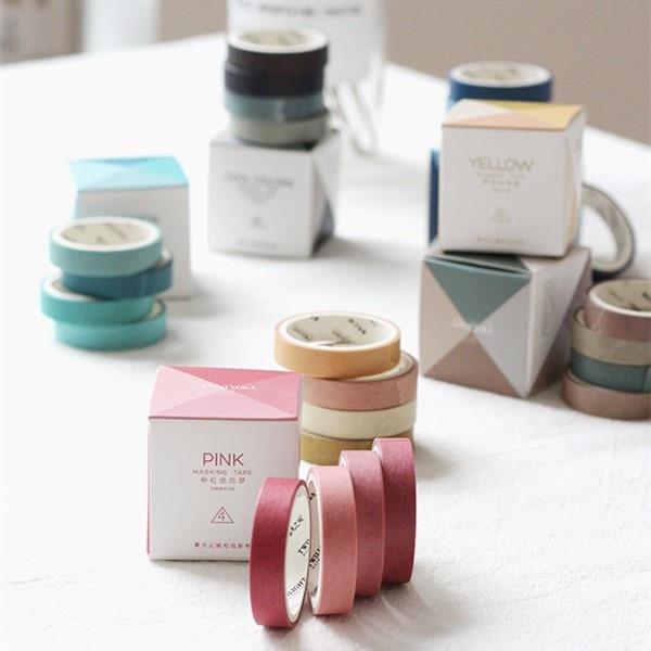 4 Rolls/pack Washi Tape Set, Decorative Masking DIY Plain Washi Tapes for Children and Gifts Warpping (MIX)(China)