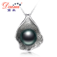 DAIMI 9-11mm Black Tahitian Pearl Pendant 925 Silver Chain Necklace The Apple Of Our Eye Fine Jewelry christmas gifts