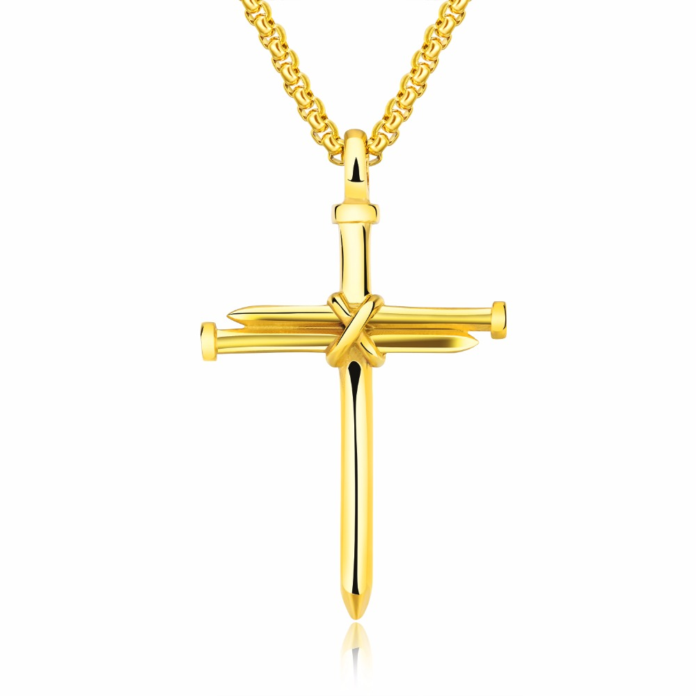 Stainless Steel Cross Necklace For Men Religious Nail Cross Pendant ...
