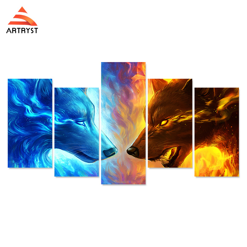 Artryst HD print abstract style 5 canvas wolf painting pictures and posters for the living room wall art modular pictures in Painting Calligraphy from Home Garden