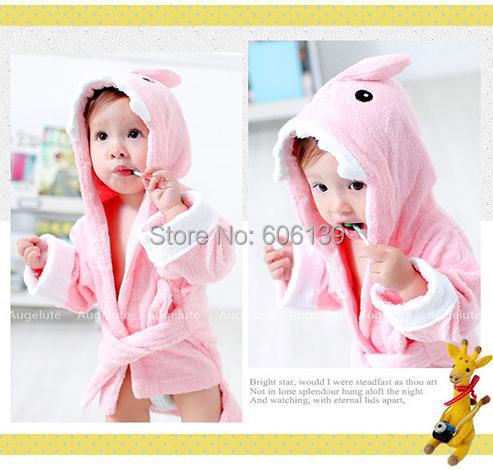 Precioso modelado Animal de la albornoz del bebé pijamas todos los algodón de boys & girls robes envío gratis