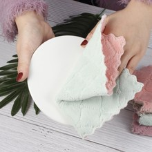 1pcs Microfiber Super Absorbent Dish Towels Double-sided Thicken Cloth Non-stick Oil Kitchen Towel Cleaning