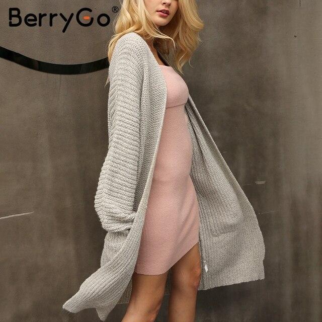 BerryGo Winter knitted sweater long cardigan Women autumn long sleeve pocket cardigan Casual streetwear loose sweater jumper 3