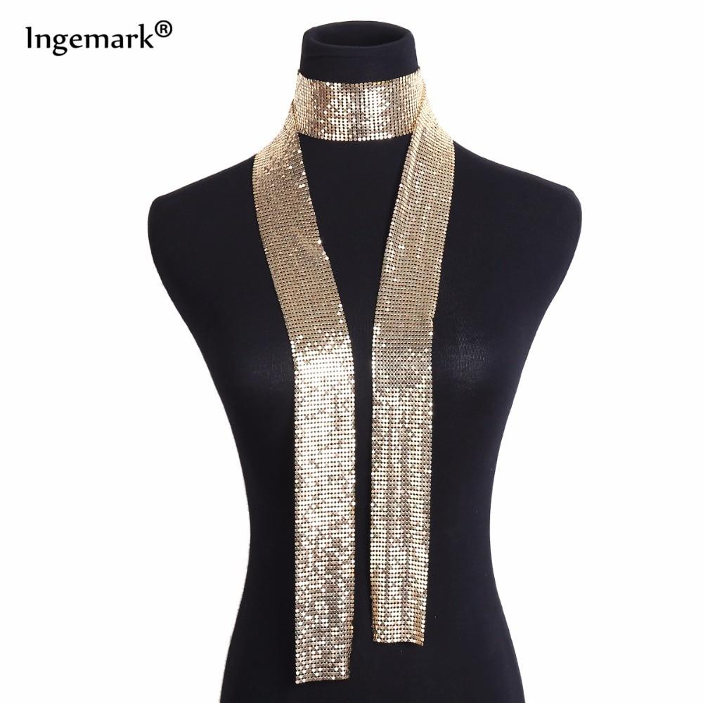 פאנק הצהרת אלומיניום סגסוגת פאייטים תליון ארוך קולר שרשרת תליון צוואר צווארון שרשראות לנשים תכשיטים