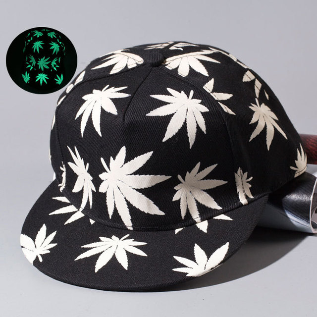 ec1eebc456b4d Women Men Luminous hip hop hat Gorras Fluorescent Night Light Hemp leaf baseball  caps Casquette scary eye Fluorescence snapback