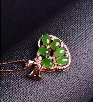 fine jewelry boutique jewels 925 silver Natural green jade pendant necklace send female jewelry  free shipping