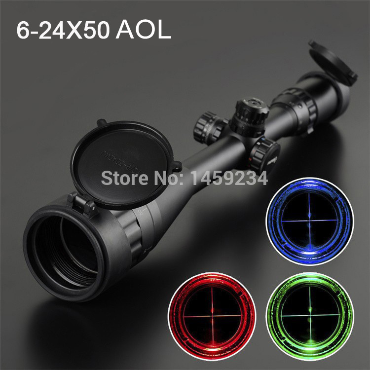 Optics Waterproof Hunting Rifle Scope 6-24x50 AOL Red & Green & Blue Dot airsoft.gun tactical optics scope Free shipping canis latrans tactical mini 1x red 2moa dot dot size free shipping cl2 0078