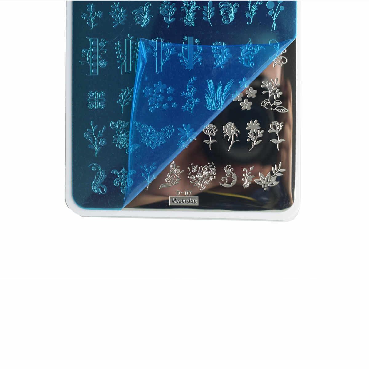 1 Pc แผ่นปั๊มเล็บดอกไม้เรขาคณิต Nature Series เล็บแม่แบบแสตมป์ภาพเล็บแสตมป์แผ่นลายฉลุเล็บเครื่องมือ d07