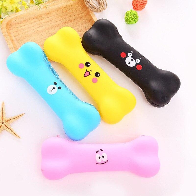 Korean Cute Bone Silicone Pencil Case Kawaii Kids Prize Gift Stationery Store Pen Bag Pouch School Holder Pencilcase Purse Bts