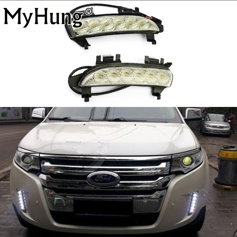 Car lamp LED Daytime Running Light DRL with turn signals For Ford EDGE 2009 2010 2011 2012 2013 2pcs per set hot sale abs chromed front behind fog lamp cover 2pcs set car accessories for volkswagen vw tiguan 2010 2011 2012 2013