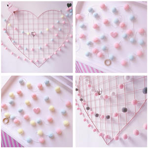 Bumpers Decoration Hair-Ball-Decor Bedding Girls Baby Kids DIY Flags Banner Macaron-Color