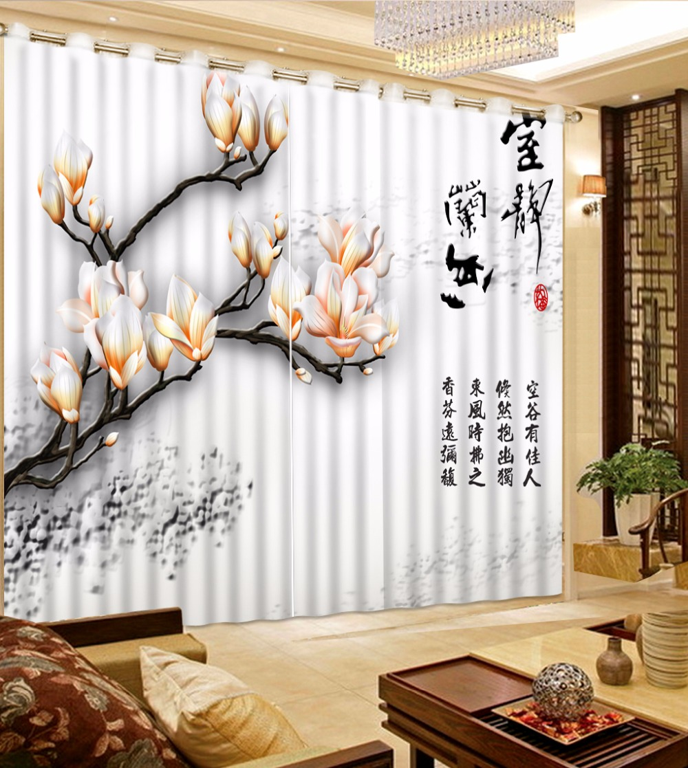 extraordinary cafe curtain living room   3D Curtains Flower Oil Printing Blackout Curtains Living ...