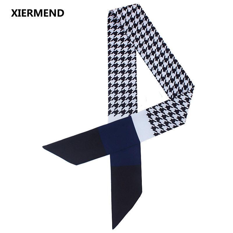 120cm*7cm Scarf European American Houndstooth Hit Color Scarves Female Tied Bag Handle Ribbon Bandage Shawl Skinny Scarves