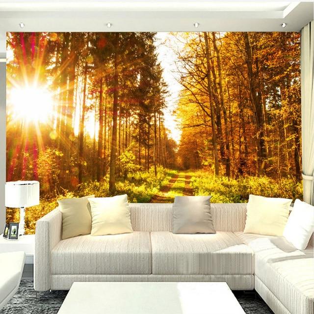 3D Wallpaper Moderne Goldene Sonnenlicht Schöne Herbst Ahorn Wald ...
