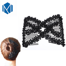 ФОТО m mism girls vintage elastic diy pearl hair combs double magic slide comb bun hair making tools for women fine hair accessories