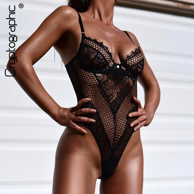 Cryptographic Hollow Out Lace Sexy Bodysuit Straps Mesh Transparent Women's Jumpsuit Solid Slim Body Hot Sheer Catsuit Teddies