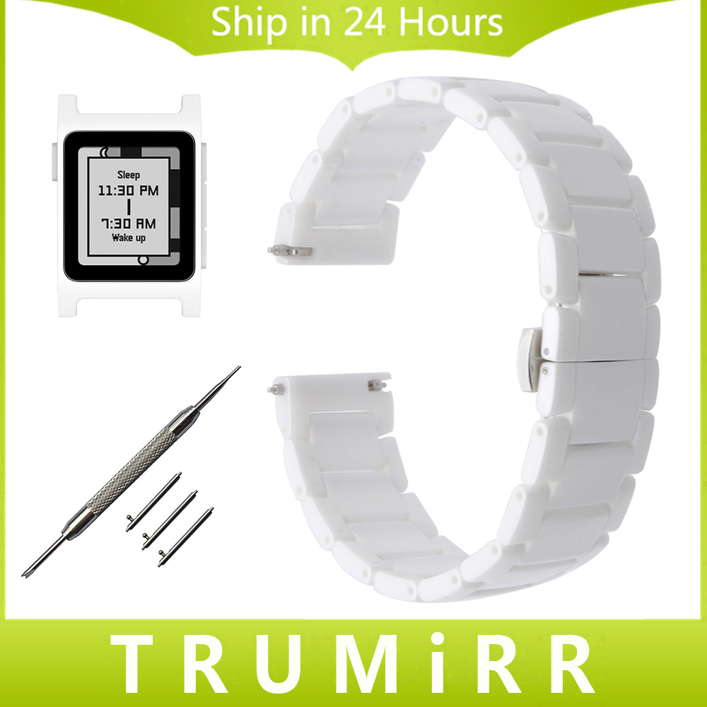 Quick Release Ceramic Watchband +Tool for Pebble 2 / 2 SE Stainless Steel Butterfly Buckle Strap Wrist Belt Bracelet White Black survival bracelet hand ring strap weave paracord buckle emergency quick release for outdoors