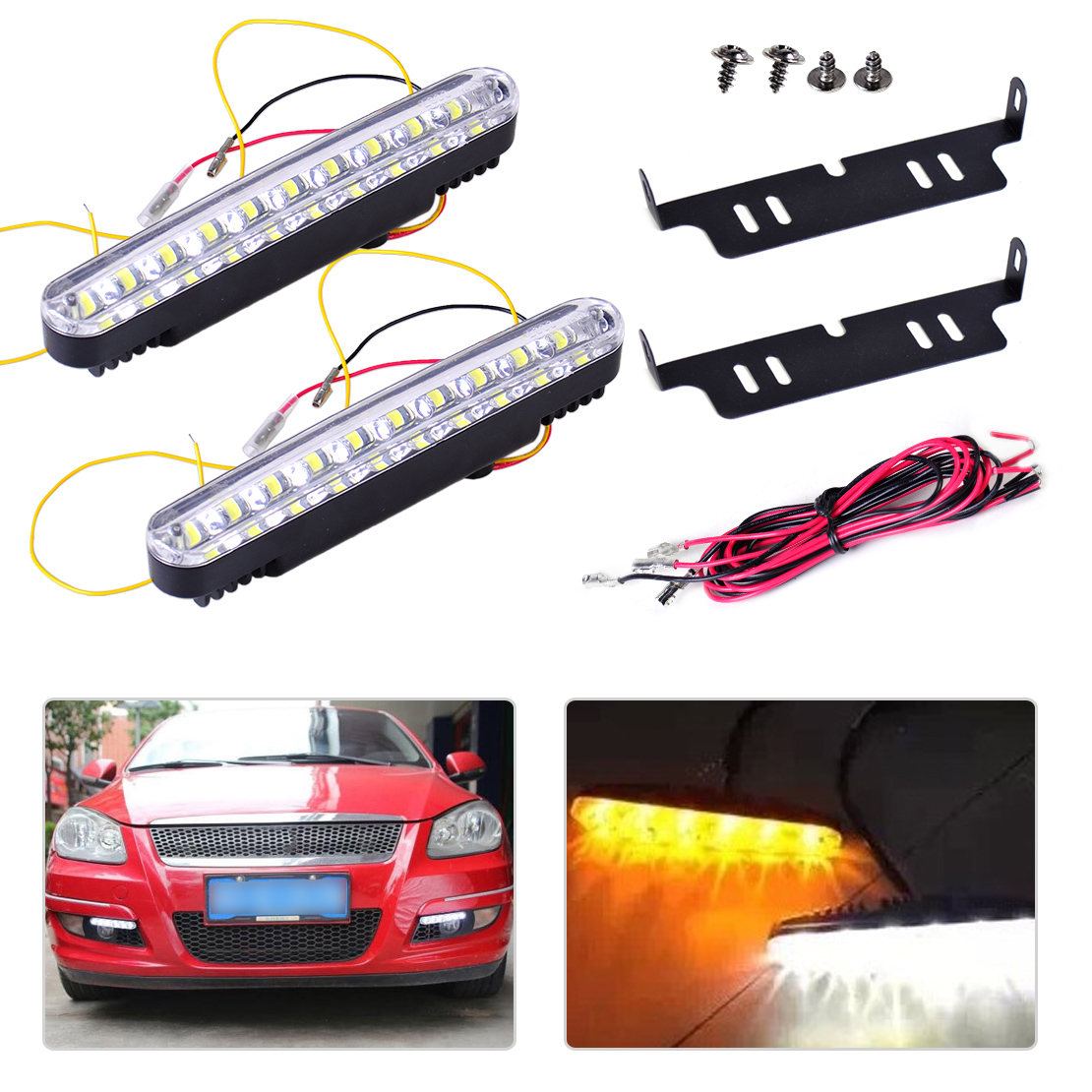 DWCX 2pcs Car SUV Trucks 12V 30 <font><b>LED</b></font> <font><b>Daytime</b></font> <font><b>Running</b></font> Light Driving <font><b>Lamp</b></font> White Amber Turn Signal Fog <font><b>Lamp</b></font> Bright Strip