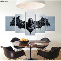 5 Pieces Oil Painting Canvas Prints Movie Stars American Heros Batman Deadpool Wall Art Pictures For