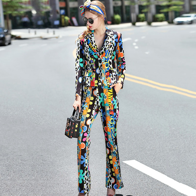 Novelty Twinset 2016 Autumn New New Print Turn-down Collar Fashion Street Suit + Long Pants Women High Street Sets