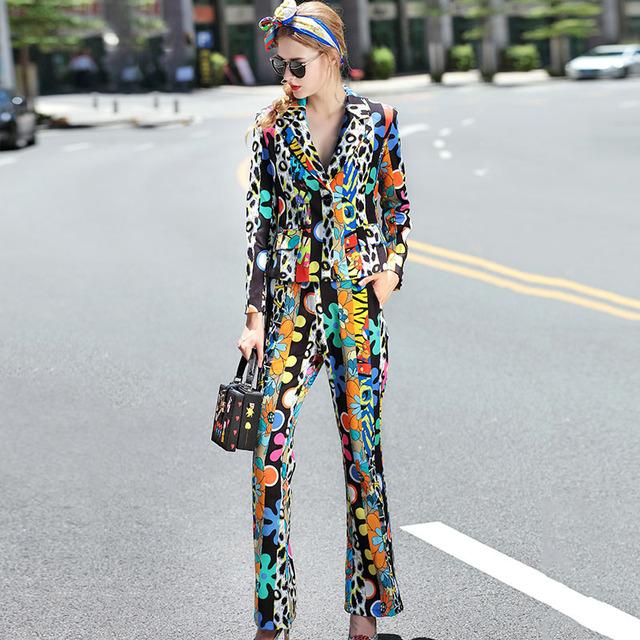 Novidade Twinset 2016 Outono Nova Novo Imprimir Turn-down Collar Moda de Rua Terno + Calças Compridas Mulheres High Street conjuntos