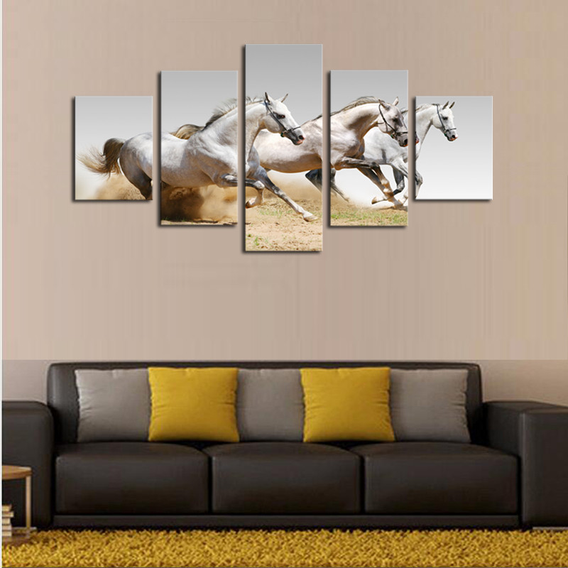 Painting For Office Five Pieces Horses Paintings Hd High Quality Wall Painting For