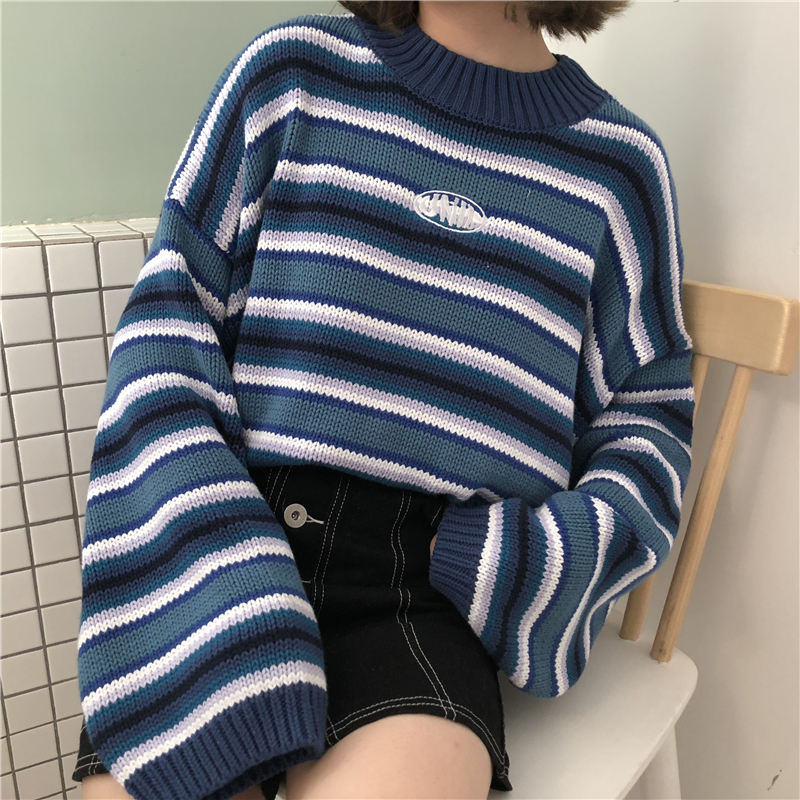 Female Korean Harajuku Clothing For Women Loose Wild Striped Student Sweater Women's title=