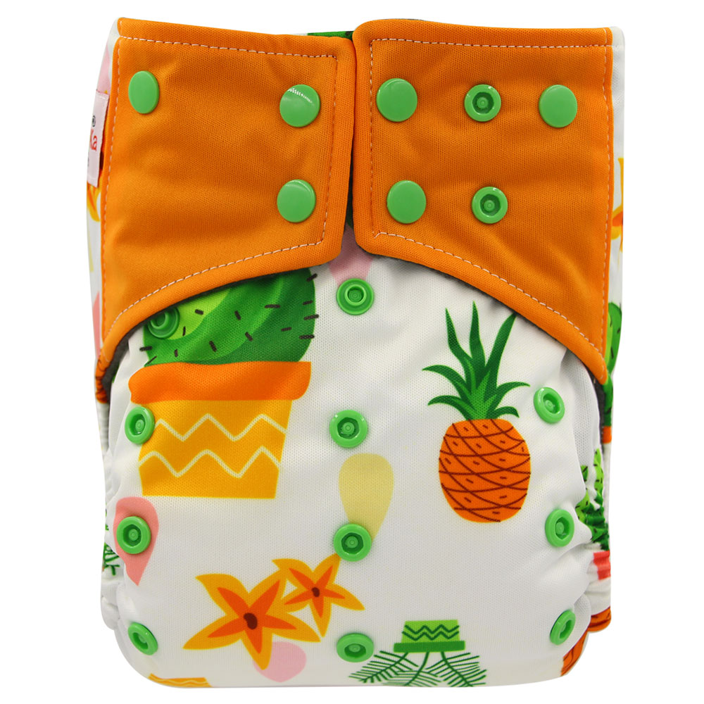 Ohbabyka Reusable Diaper Cover Character Print AI2 Pocket Diaper Washable Baby Cloth Diaper Bamboo Charcoal Insert Baby Nappies цена