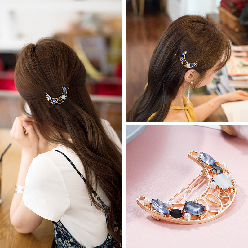 CHIMERA Elegant Barrettes Gold Alloy Moon-shaped Artificial Crystal Hair Clips Hairpin Hair Jewelry Accessories for Women Girls
