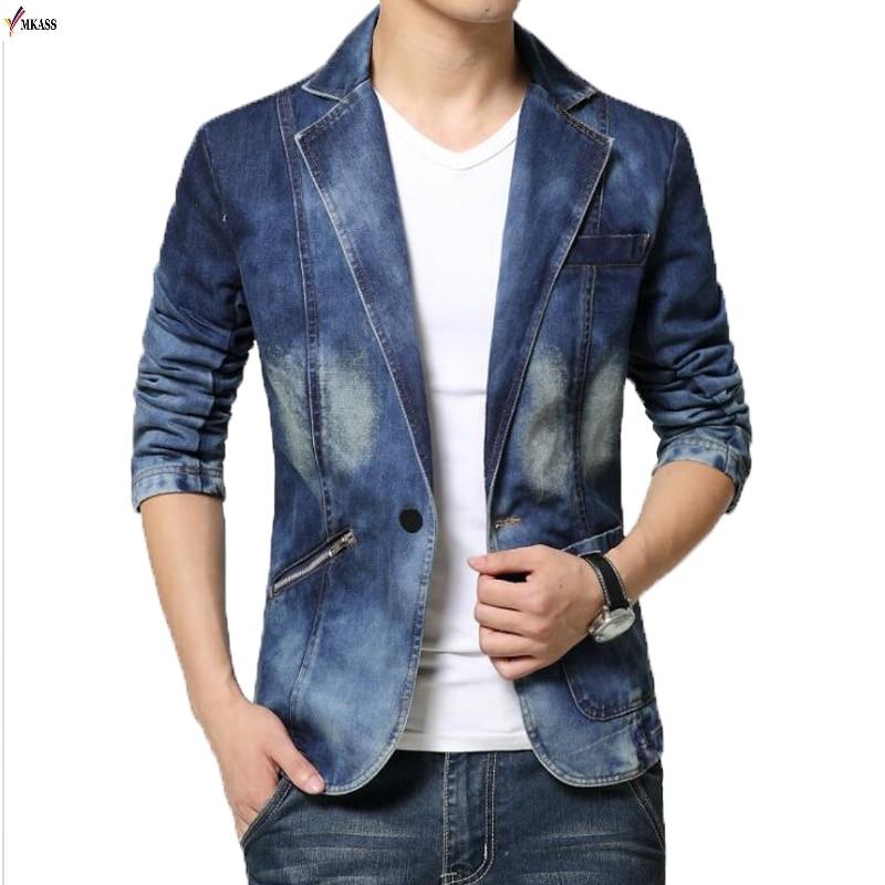 MKASS New Jeans Blazer Men Cotton Cowboy Jacket Denim Jacket Men Blazer Suits For Men Jaqueta Brand-Clothing Fashion M-4XL HOT