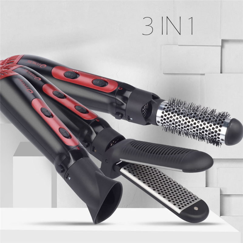 купить 1200W 3 in1 Multifunctional Styling Tool Hair Dryer Comb Straightener Curler Professional Blow Dryer Brush 220-240V Hairdryer по цене 1446.99 рублей