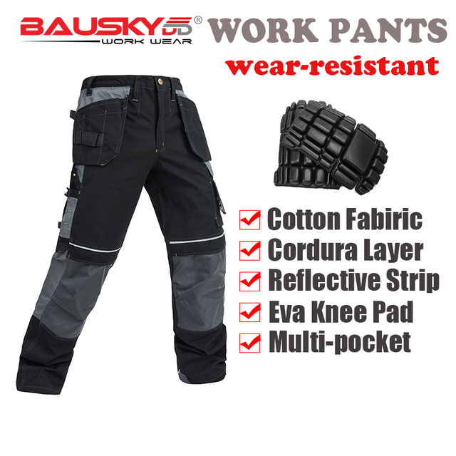 d88747390a 100% cotton men's work pants with knee pads mechanic craftsman workwear work  trousers multi pocket