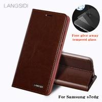 L ANGSIDIสำหรับS Amsung s7edgโทรศัพท์กรณีผิวขี้ผึ้งน้ำมันกระเป๋าสตางค์พลิกยืนถือบัตรสล็อตซองหนังที่จะ...