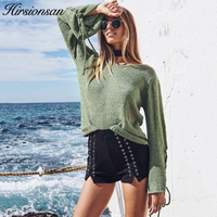 Hirsionsan Women Sweaters And Pullovers Long Sleeve Lace Up Jumpers 2017 Autumn Solid Thin Pullovers Chil