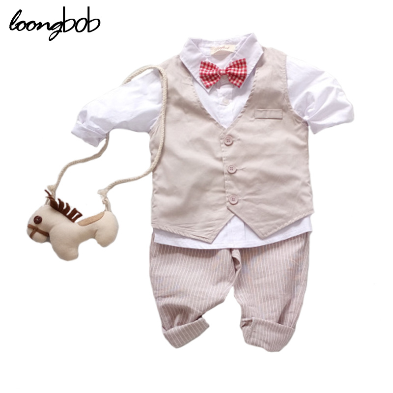 цены на 3PCS Baby Boy Clothing Suits Solid White Shirt +Vest +Striped pants Casual Children party costumes kids Spring Autumn Sets 088F в интернет-магазинах