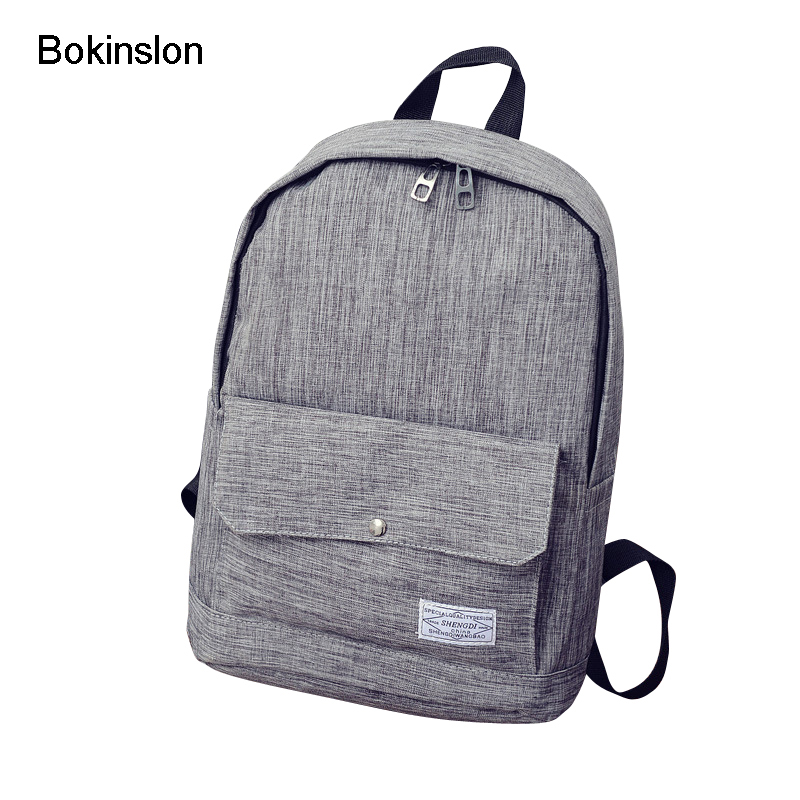 Bokinslon Fashion Men Backpacks Bags Canvas Solid Color Man Backpacks For Women Student Popular Simple Male Casual Travel Bags