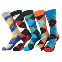 5pairs/pack New Cotton Socks High Quality Professional Brand Lattice Socks Random mixing Color Football Socks